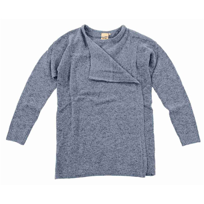 svetr ICHI - Knitted cardigan Dusty Blue (14018)