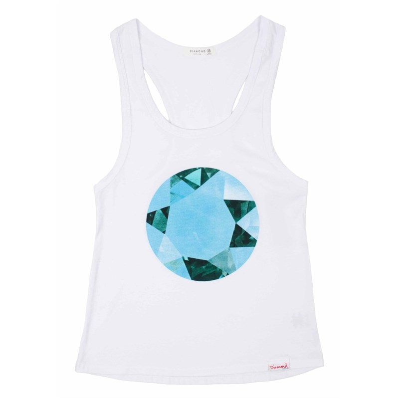 tílko DIAMOND - Bejewelled Tank Top White (WHT)