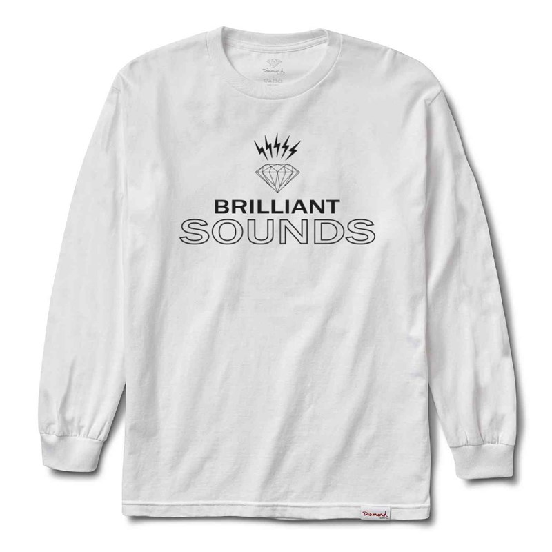 triko DIAMOND - Diamond Records L/S Tee White (WHT)
