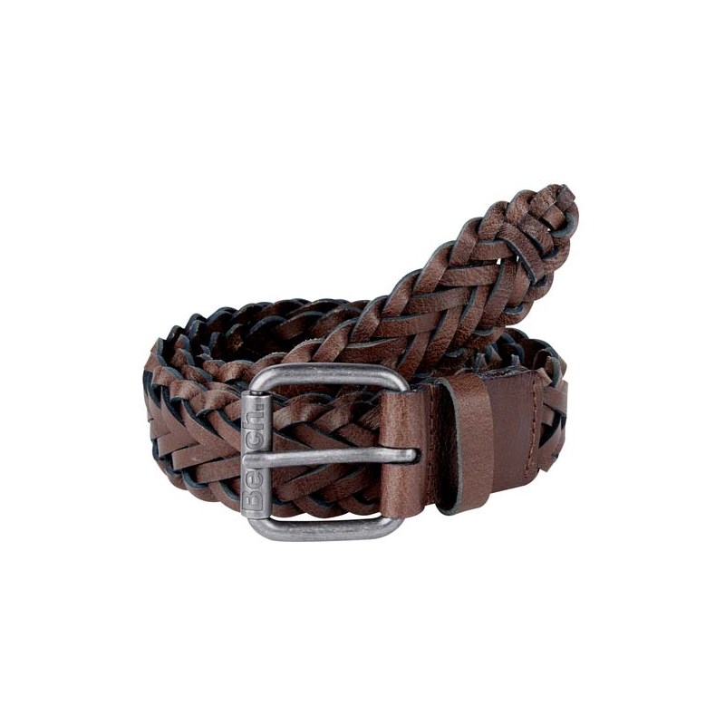 pásek BENCH - Plaited Leather Belt Dark Brown (BR052)