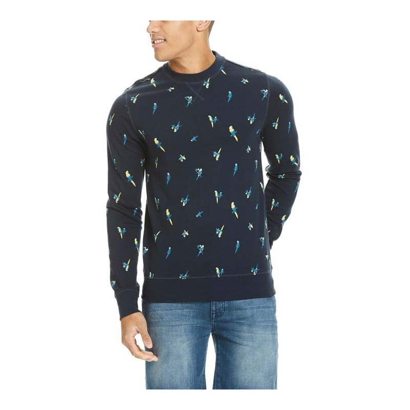 mikina BENCH - Parrot Aop Crew Neck Total Eclipse (NY031)
