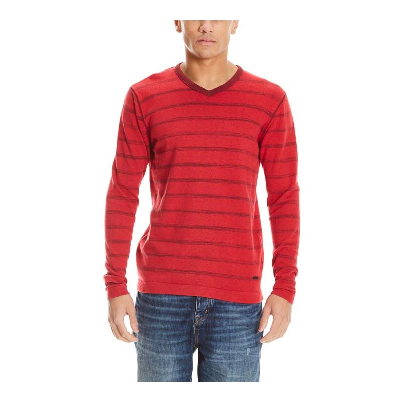 mikina BENCH - V Neck Stripe Red (RD012)