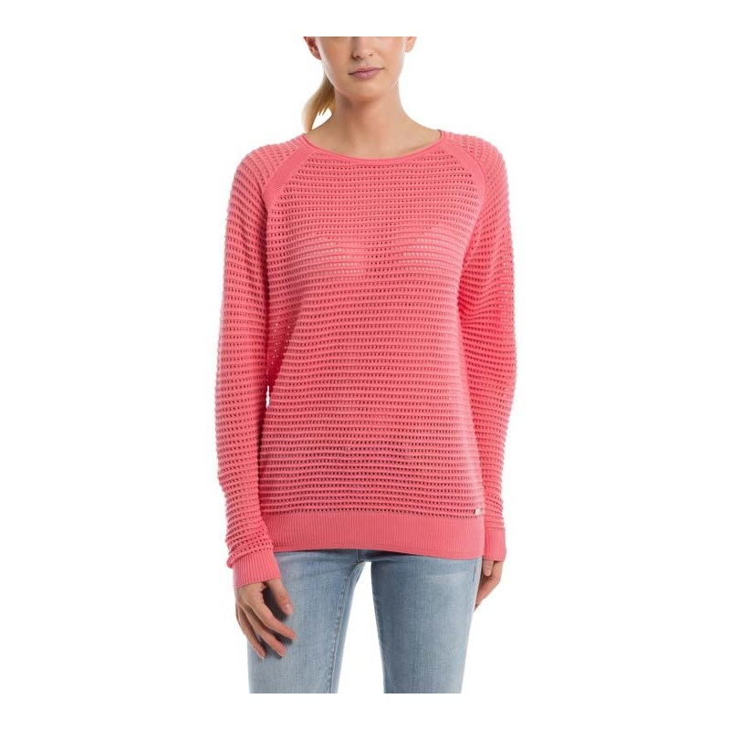 mikina BENCH - Knitted Mesh Crew Strawberry Pink (PK11480)
