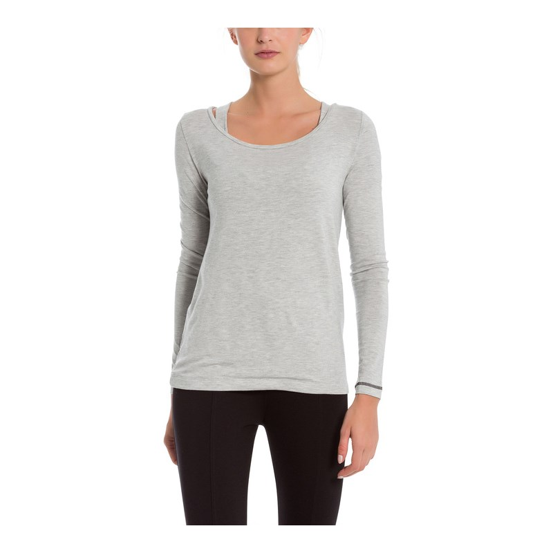 triko BENCH - Double Layer Longsleeve Summer Grey Marl (MA1026)