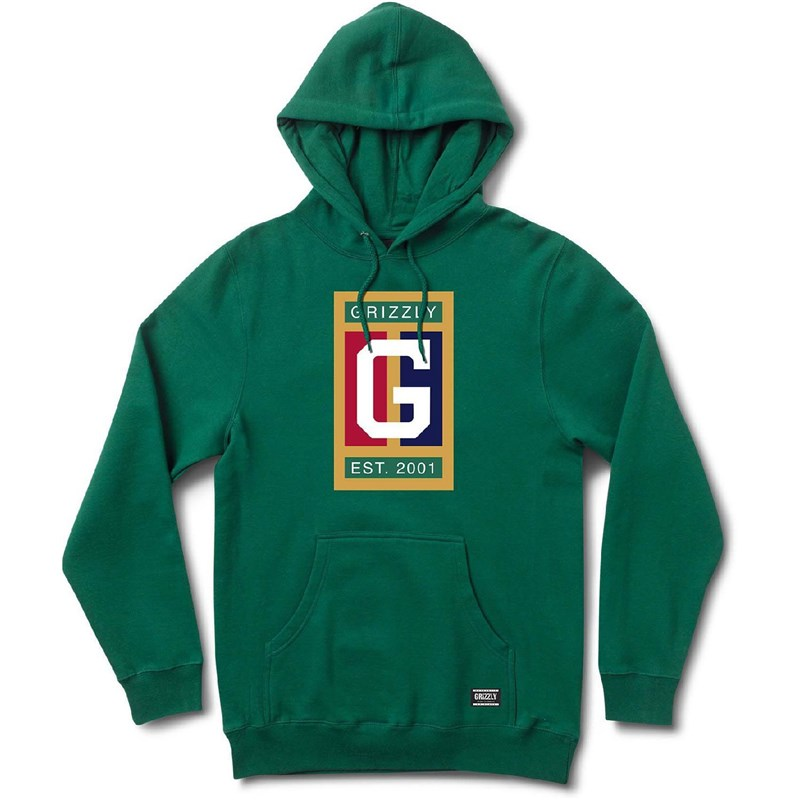 mikina GRIZZLY - Off The Court Hoodie Forest Green (FGRN)