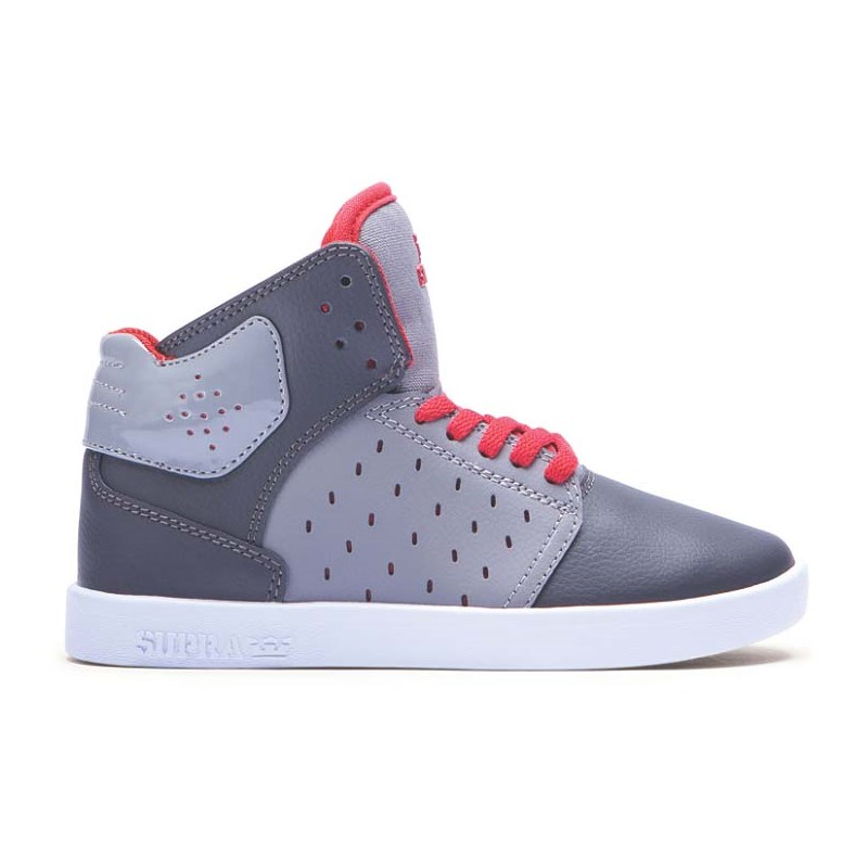 boty SUPRA - Kids Atom Grey/Charcoal/Red-White (GCR)