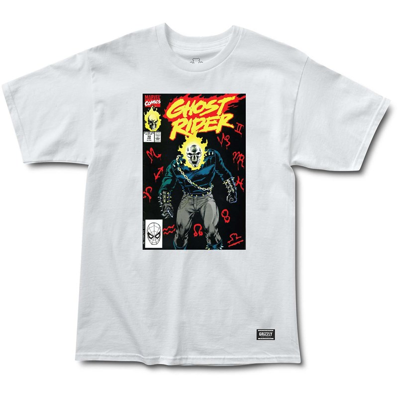 triko GRIZZLY - Grizzlyxghost Rider Cover White (WHITE)