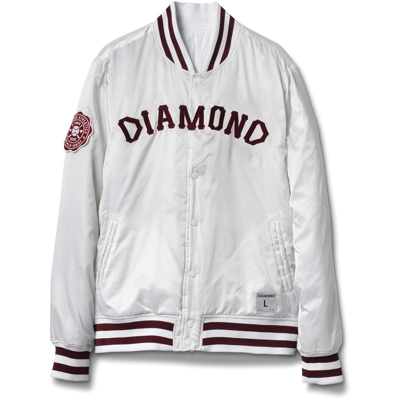 bunda DIAMOND - Dugout Varsity Jacket White (WHITE)