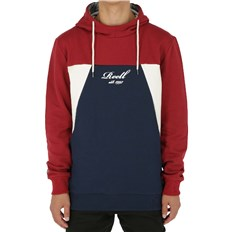 mikina REELL - Color Block Hoodie Red/Navy/Cream (RED-NAVY-CREAM)